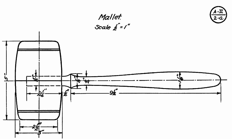 Drawing for turned mallet