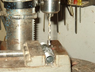 woodworking lathe project, make arm brace tool, drilling
