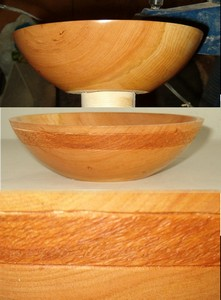 lathe turned black cherry bowl with decorated band