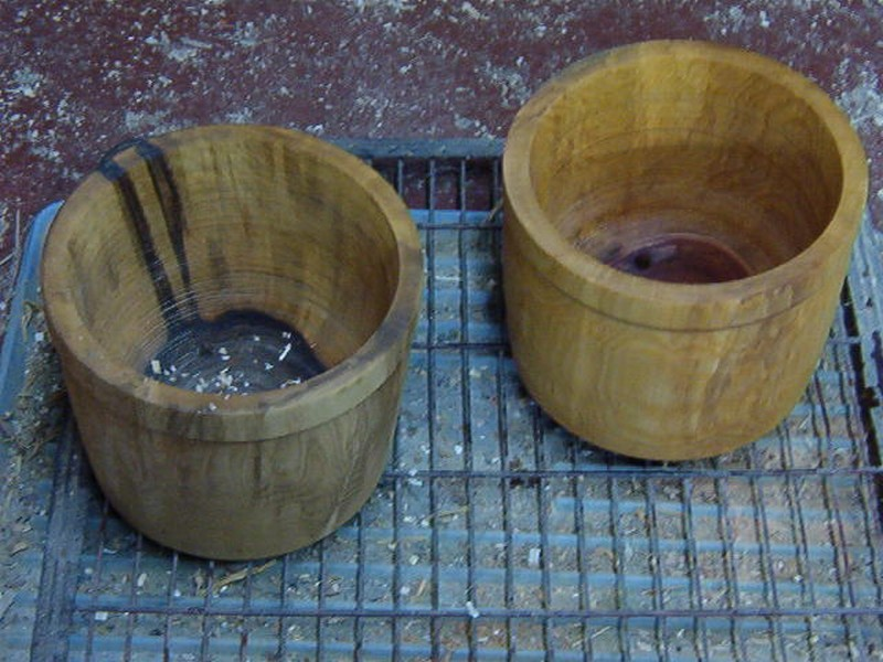 turned wooden flowerpot