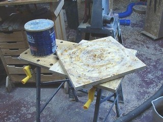 scrap plywood connected with  lazy Susan bearing